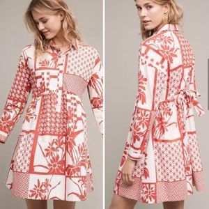 Anthropologie Maeve Printmaker Poplin Shirtdress